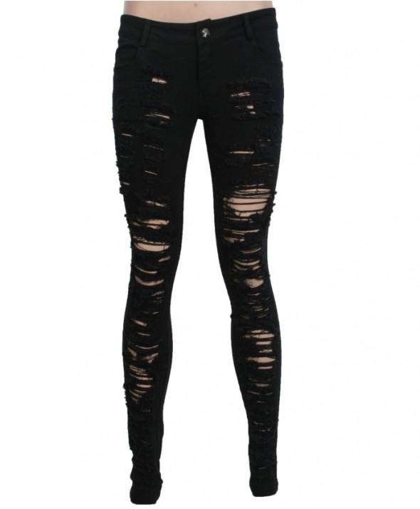 Poszarpane spodnie z dziurami Punk Rave...