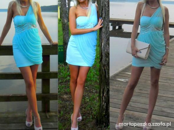 e0357b948b NOWA TURKUSOWA SUKIENKA Z KAMIENIAMI R 36 w Suknie i sukienki - Szafa.pl