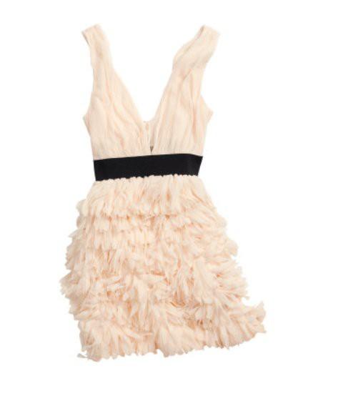 Suknie i sukienki H&M SUKIENKA PARTY PUDROWA TIUL