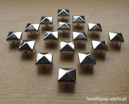 Pozostałe Ćwieki piramidki 11mm punk kwadraty