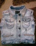 Jeansowa kamizelka vintage ćwieki