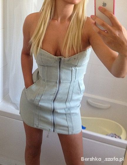 Suknie i sukienki H&M GORSETOWA SUKIENKA JEANS