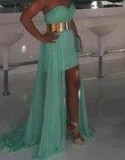 miętowa asymetryczna sukienka