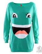 Sweter H&M zielony morski buzia twarz OVERSIZE...