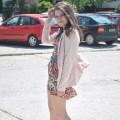 Flower dress beige heels and pastel jacket