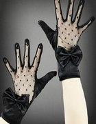 rękawiczki z kokardką atłas i koronka...