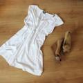 Sukienka biała marszczenie odcinana M L