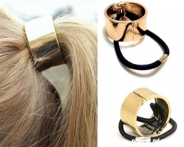 Gumka do włosów metalowa złota