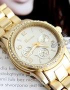 Złoty zegarek GENEVA cyrkonie