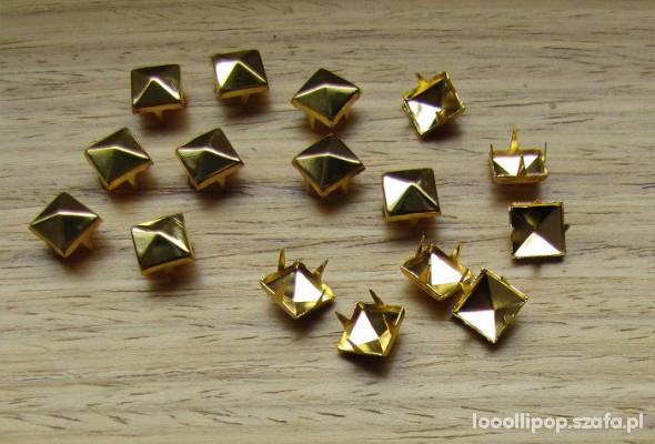 Pozostałe Złote ĆWIEKI PIRAMIDKI 8mm pukle nity kwadraty