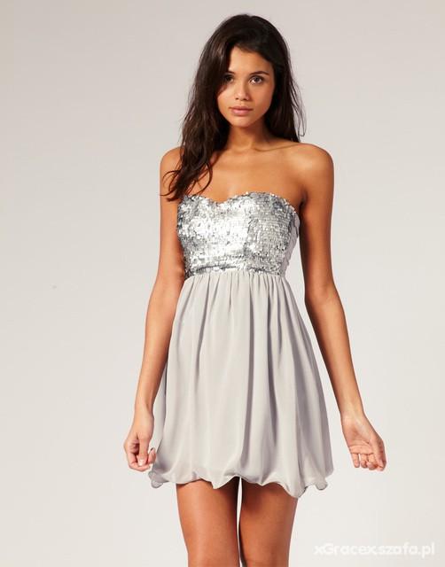 a23e80986bc4 Blogerska srebrna sukienka z cekinami bombka w Suknie i sukienki ...