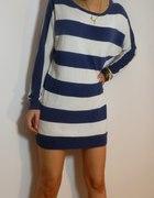 H&M długi sweter nietoperz paski 34 XS