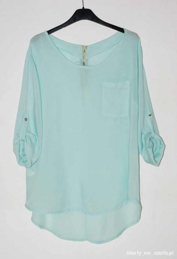 miętowa koszula z kieszonką i zipem