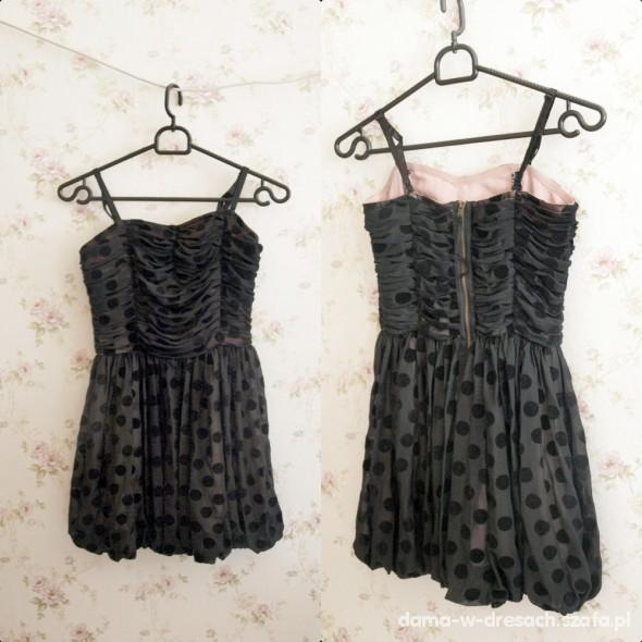 Suknie i sukienki Śliczna sukienka czarna z różową podszewką