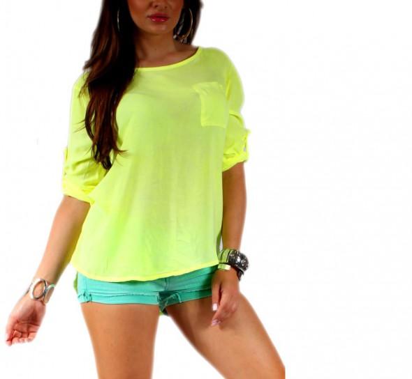 Bluzka koszula kieszonka zolty neon zip