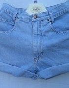 Szorty vintage jasny dżins 38 M 40 L wysoki stan