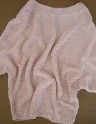 nowy sweter kimono jasnoróżowe bez złotej nici