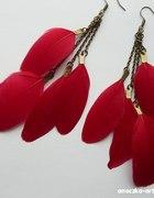 Czerwone bordowe kolczyki Piórka Stare złoto