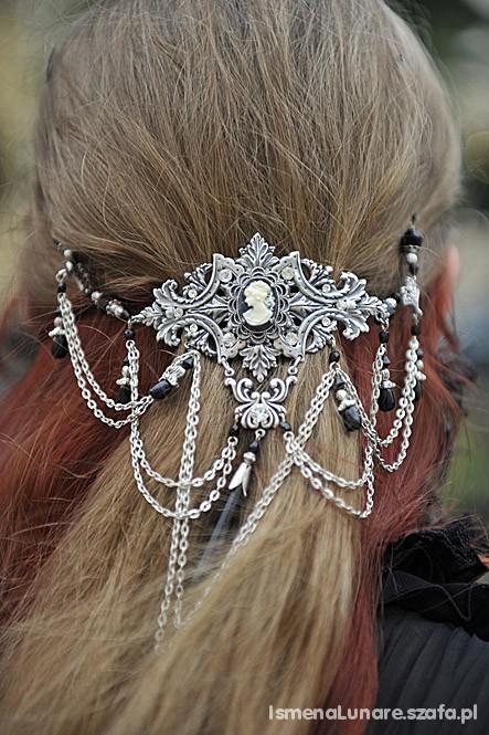 Gotycka kolia na włosy kamea goth gothic spinka