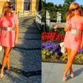 Brzoskwiniowa sukienka
