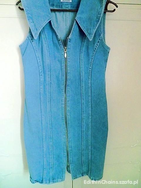 Suknie i sukienki Sukienka dżinsowa niebieska zamek