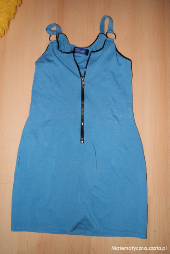 Suknie i sukienki Niebieska sukienka zip SM