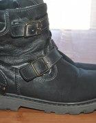 Worker Boots trapery czarne buty z klamrami