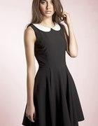 sukienka czarna z kołnierzykiem pensjonarka 38