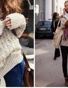Luźny ciepły i wełniany sweter