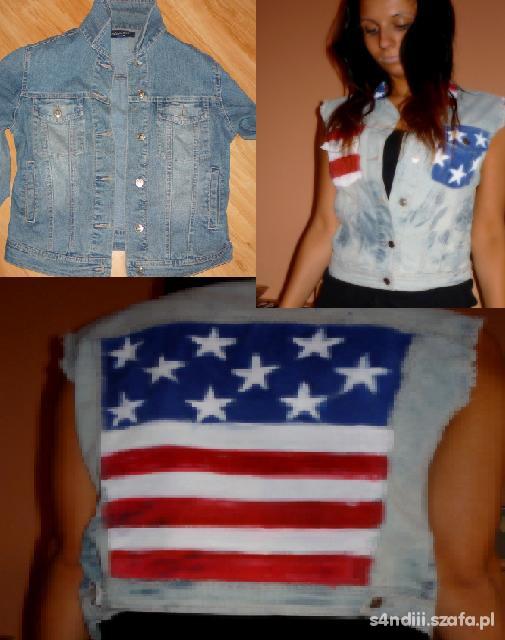kamizelka jeansowa flaga usa