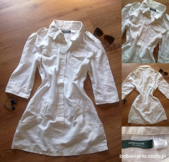 Suknie i sukienki Biała lniana sukienka M L