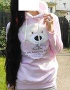 różowa bluza z misiem CUDO futerko XS S