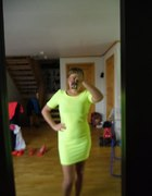 neonowa sukienka gole plecy Zip
