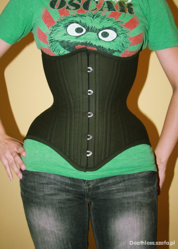 Darkgreen tight lacing underbust Deathless Corsets