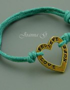 BELIEVE HOPE LOVE bransoletka sznurek