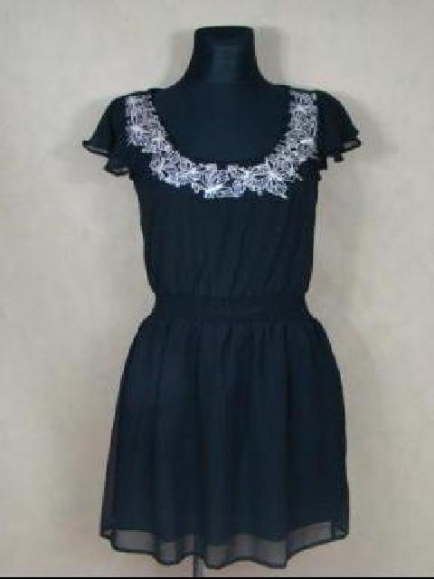 Czarna Haftowana sukienka Zwiewna...