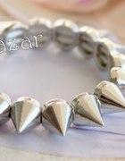 Bransoletka kolce modna srebrna