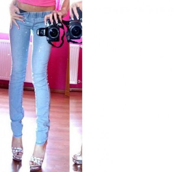 Tregginsy legginsy jeans na gumce