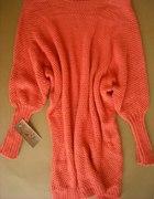 nowy sweter koralowy 80cm długości