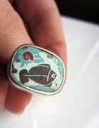 oryginalny stary pierścionek sygnet z ryba