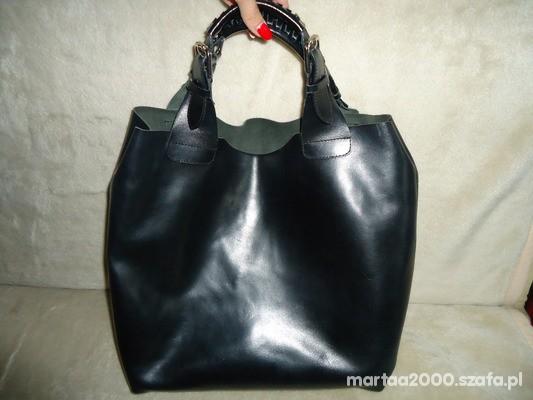 Torebki na co dzień czarna skorzana torba