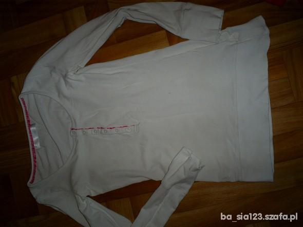 biała bluzka z długim rękawem cropp...
