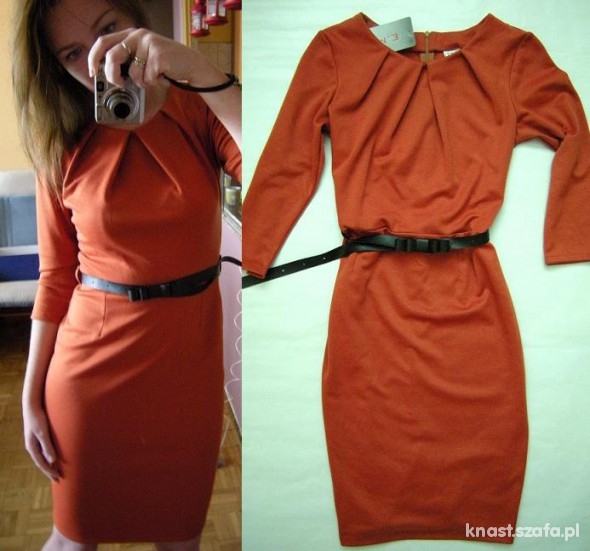 Suknie i sukienki NOWA 38M SUKIENKA ORANGE Z KOLEKCJI JESIENNEJ