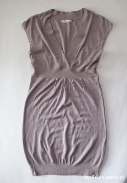 Suknie i sukienki POPIELATA SUKIENKA DZANINOWA TUNIKA