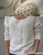 Sweterek warkocze diy ćwieki łaty kolce...