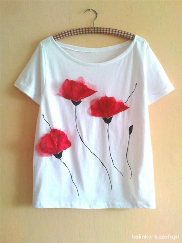 Bluzki biała BLUZKA W MAKI w stylu domu mody Blumarine
