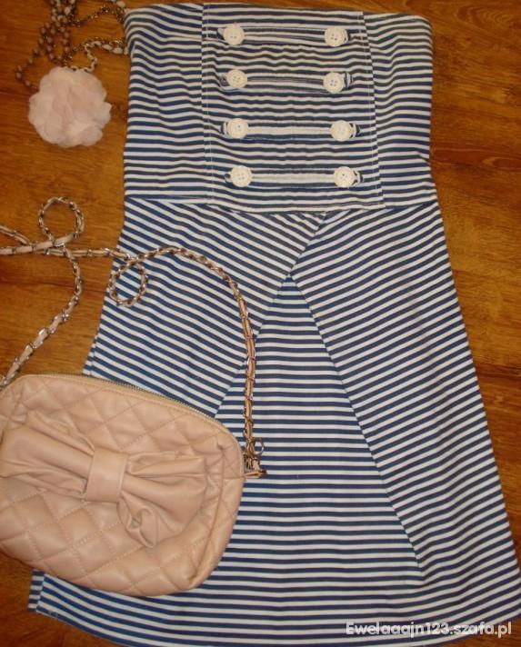 Suknie i sukienki sukienka marynarska S białe guziki rozkloszowana