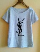 jasny szary melanż bluzka oversize YSL diy M
