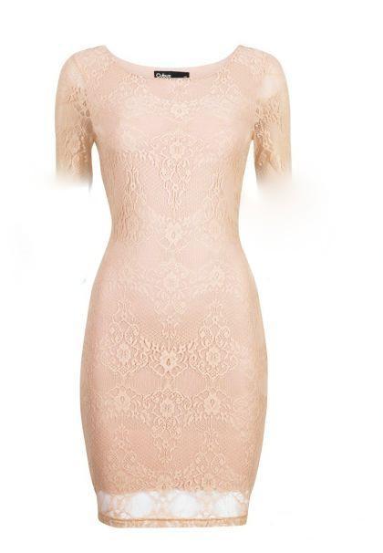 Suknie i sukienki koronkowa nude 36 piękna koronka tuba zara