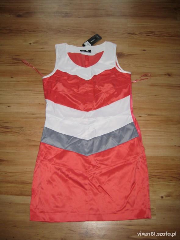 Suknie i sukienki Bandazowa koralowa sukienka XL 42